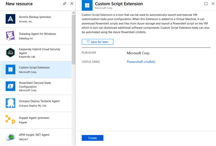 Install DBATools with Azure VM Custom Script Extension – Azure Portal