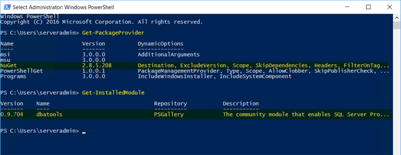 PowerShell - Installed Packages Module Verify that NuGet and PowerShell elements are installed.
