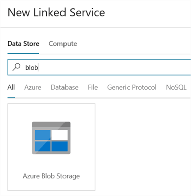 create new linked service for blob