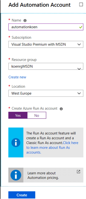 add automation account