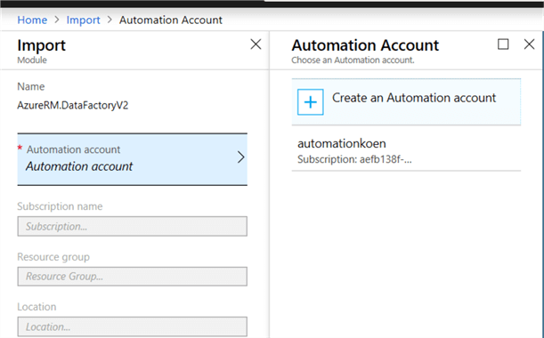 choose automation account