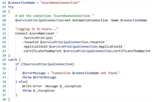 create connection to Azure