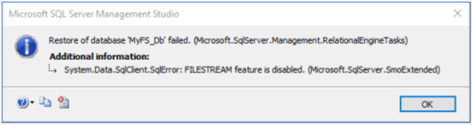 restore error for filestream