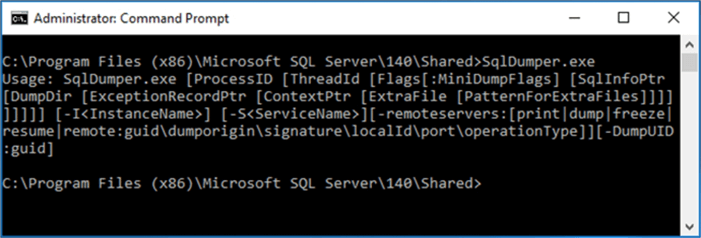 This is the basic help you will get from executing SqlDumper.exe without any parameters.