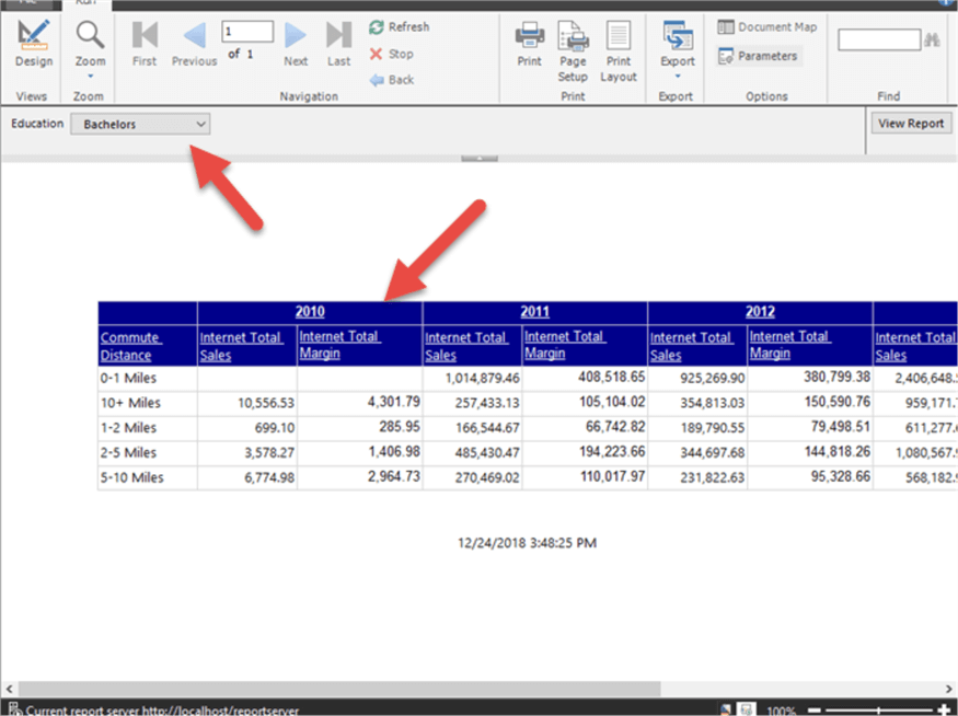 SQL Server Reporting Services Report Builder with DAX Query