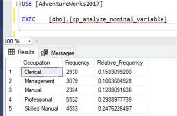 A screenshot of the result of a stored procedure in the SSMS window.