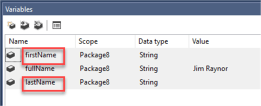 SSIS 2 string variables