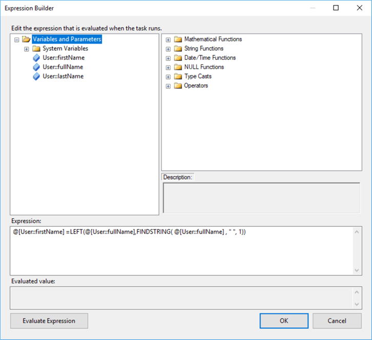 SSIS expression to separate 2 words separate by spaces.