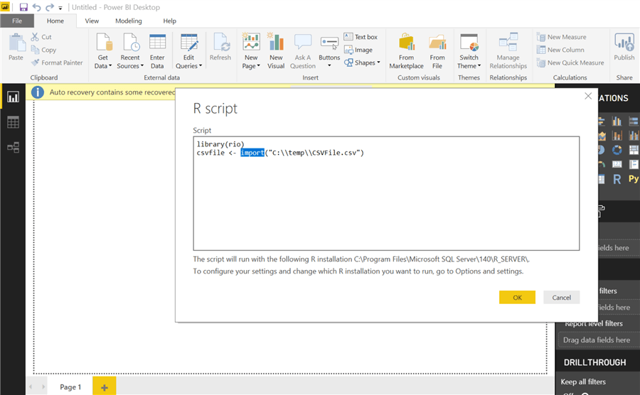 Import data dynamically using R and Python in Power BI Desktop
