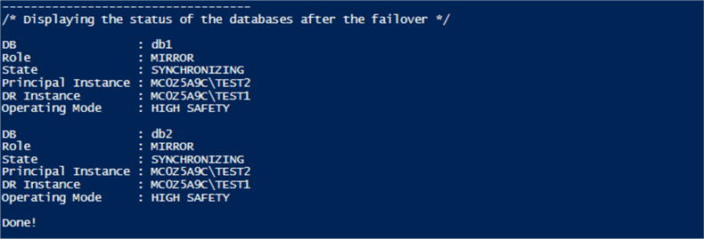displaying status after failover