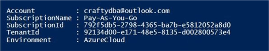 PowerShell ISE output showing subscription information.