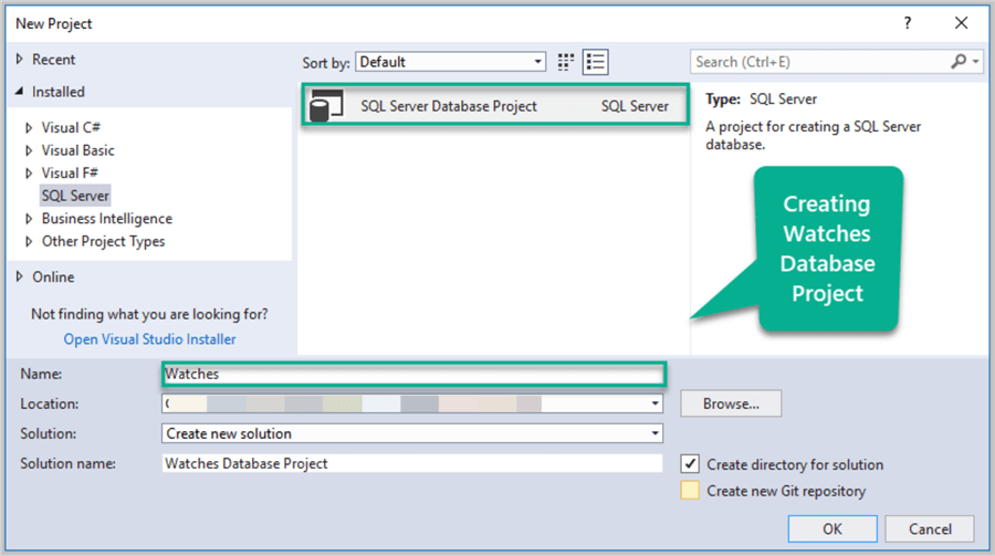 Creating Watches SQL database project in Visual Studio.