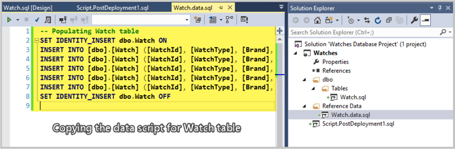 Copying Watch reference data script.