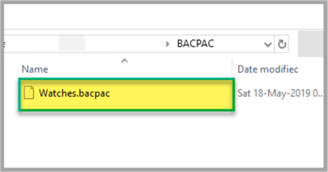Checking BACPAC file.