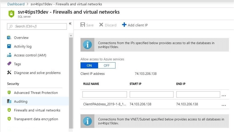 Adding firewall rules for connectivity.