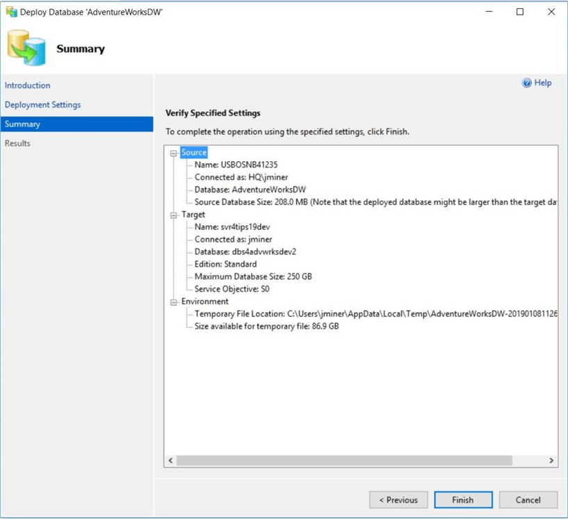 SSMS - Deploy Database 2 Azure - Summary