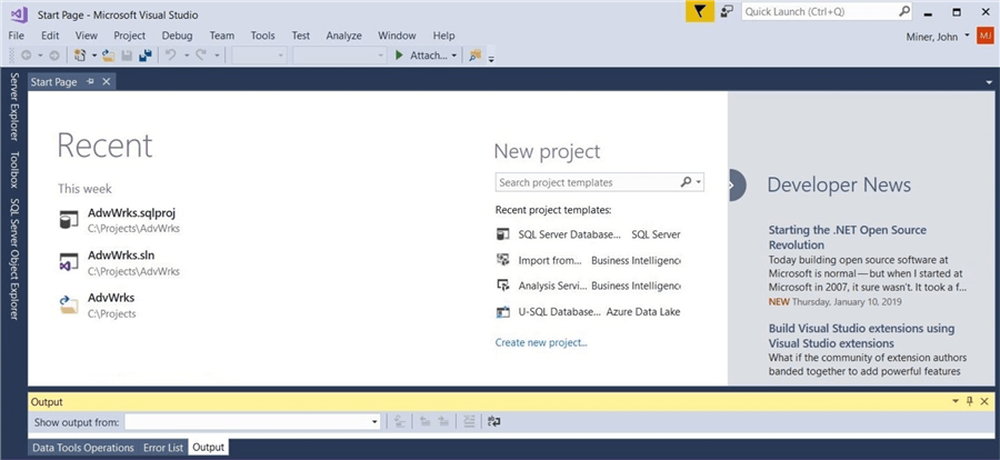New database project using VS2017