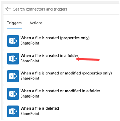 choose type of SharePoint trigger