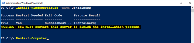 PowerShell code Install-WindowsFeature –Name Containers