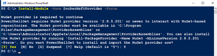 PowerShell code Install-Module -Name DockerMsftProvider -Force