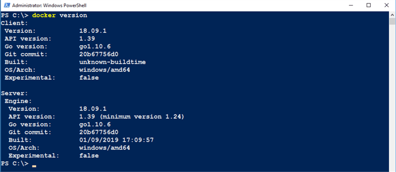 Docker Version in PowerShell