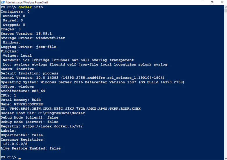 Docker Info PowerShell command
