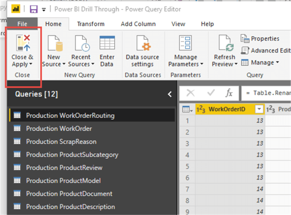 Close the query editor and apply to the Power BI Model.