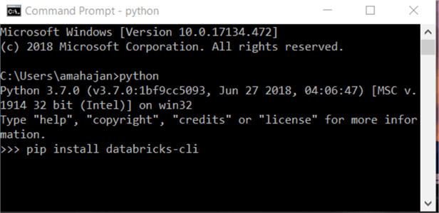 Install Databricks in Windows Command Prompt