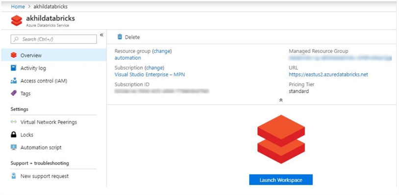 Open the Azure Databricks workspace