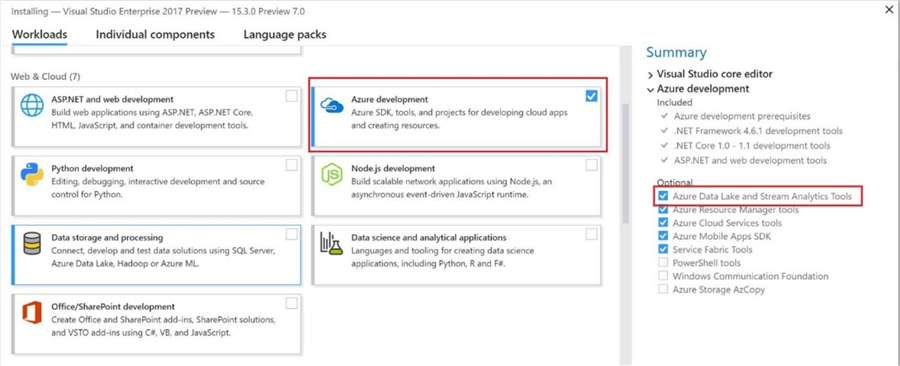 How to install azure tools for Azure development