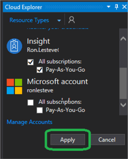 opening the Cloud Explorer pane and I'll then connect to my Azure account