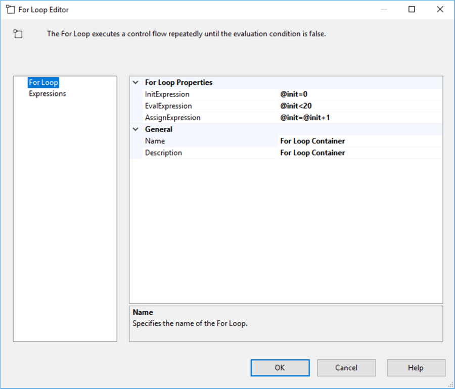 For loop configuration in SSIS
