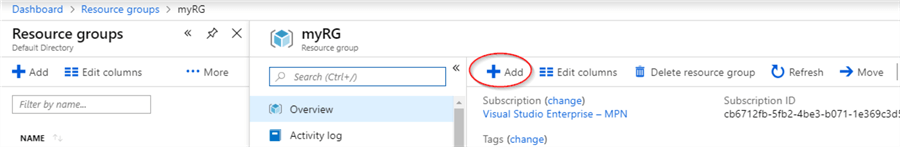 In the Azure Portal, add a new resource