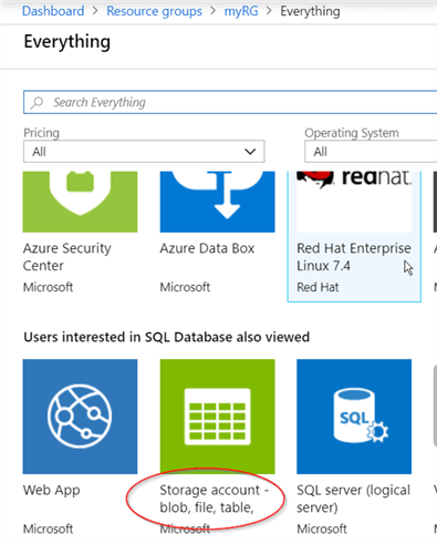 Select the storage account in Azure