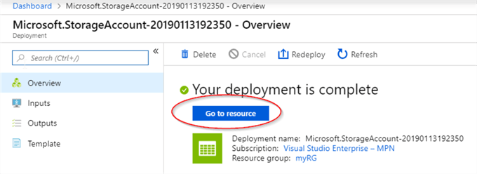 Azure Go To Resource option