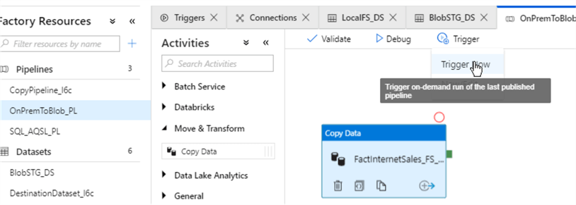 Execution and Monitoring of Azure Data Factory