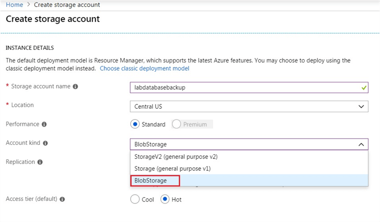 Create Azure Storage Account and select BlobStorage