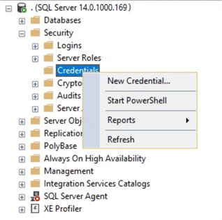 connect to your SQL Server in Management Studio and click on security and then credential and right click and click new