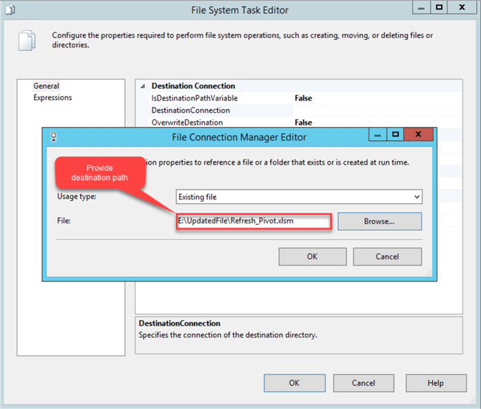 SSIS File Connection Manager Editor File Path