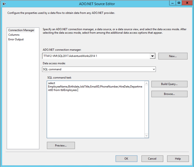 SSIS SQL Server Query to Export Data