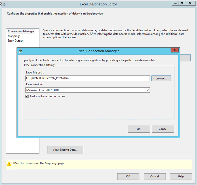 SSIS Specify Excel File Path