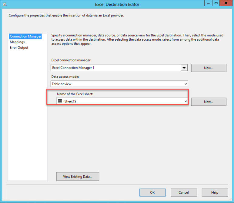 SSIS Excel Destination Editor - specify the Name of the Excel Sheet