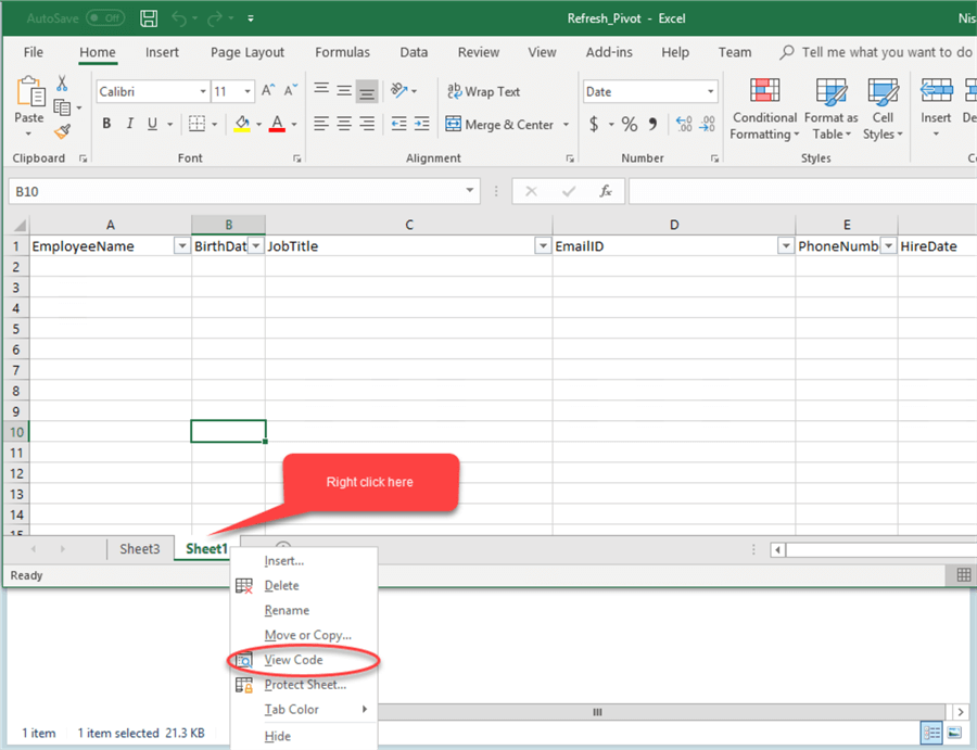 View Code in Excel