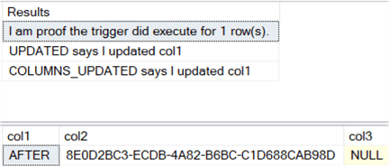 The results show that both UPDATED and COLUMNS_UPDATED report all that only col1 was updated.