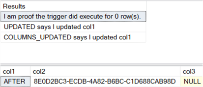 The results show that the trigger still executed even though no rows were affected by the statement.  Also, both UPDATED and COLUMNS_UPDATED report all that only col1 was updated.