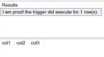 The trigger shows that it executed, but both methods of checking columns returned nothing.