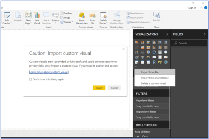 Click Import button to import custom visual in Power BI Desktop