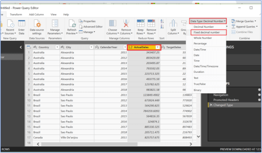 Changing data type in Power Query Editor in Power BI Desktop