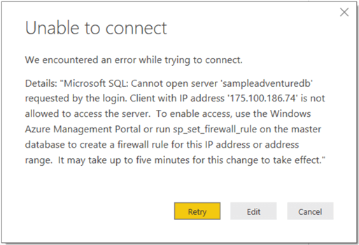 Create Power BI Connection to Azure SQL Database