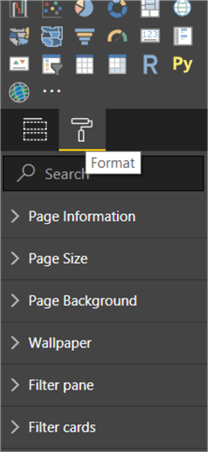 This image shows the Format section available under Visualizations Pane